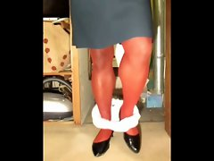 TGirl Red Stockings Tease 293