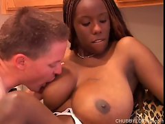 Beauteous chesty ebony Fatty loves to fuck