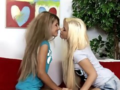 Charming tempting blonde lesbos stroking and fingering Part 1
