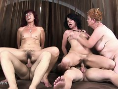 Three attractive mature mothers get banged by two attractive men