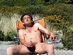 wanking at the beach