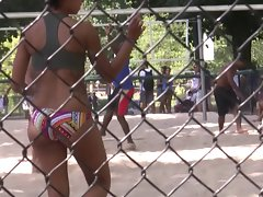Unbelievable Latina Backside Playing Volleyball