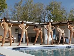 18 years old sensual talents train by the pool with their firm coach