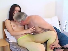 Young in pantyhose knows her way around aged prick