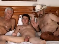 Cowboy, elder man and 18 years old fellow