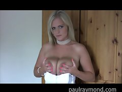 PaulRaymond light-haired lassie Charley plays with enormous tits
