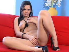 Sensual Eve Angel loves tormenting her dripping quim