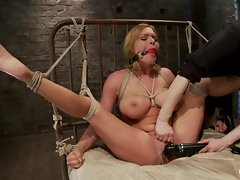 Bound Krissy Lynn gets her dripping sappy clit tormented