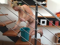 Buxom cheating wife Lucy Rose cleaning