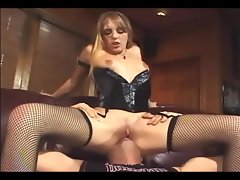Cunnilingus and banging in fishnet stockings and corset