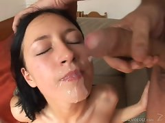 Afrodite Night gets her face splashed with lewd cum