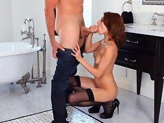 Blazing Lexi Bloom shoves a throbbing shaft down her throat