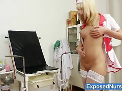 Nurse Paris gets kinky with plastic speculum on gynocha
