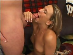 Brianna Beach gets her face drizzled with warm jizz