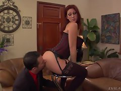 Sassy Tiffany Mynx gets her slave to lick her ass