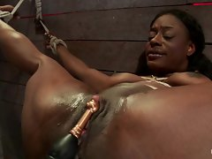 Red attractive young woman gets tied up & her cunt tormented
