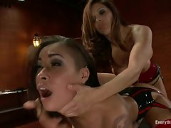 Young lady Francesca Le slams Skin Diamond's backside with a toy