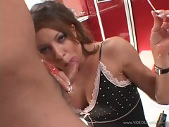 Rampant Vanessa Lane slurps on this tasty tube steak