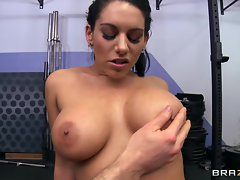Sensual Bella Reese exposes her monster mammary glands