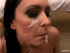 Raging Jessica Jaymes is covered in dick cream