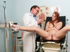 Redhead Denisa gyno twat speculum examination at clini