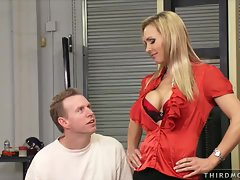 Sensual Filthy bitch Tanya Tate seduces this dude with her knockers