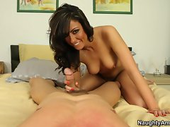 Luscious Tiffany Brookes tosses off this throbbing prick