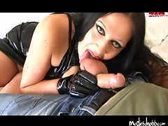Gothic Lady just loves licking shaft and balls
