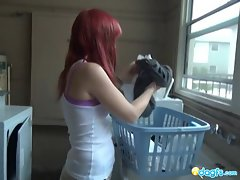 Top heavy Redhead emo fake penis banging in the shower