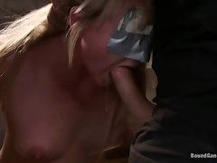 Bondage young woman Casey Cumz is masked and gangbanged