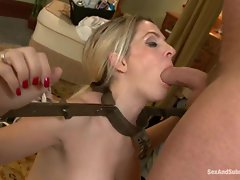 Angela Attison is tied up and made to suck penis