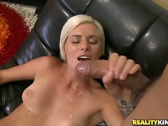 Blistering tempting blonde gets her face blasted with lewd cum