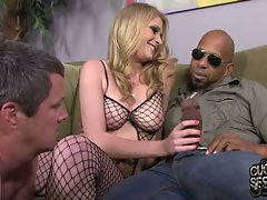 Allie James plays with black penis in front of cuckold