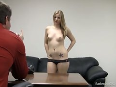 Stripping blond gets ready for a screwing at interview
