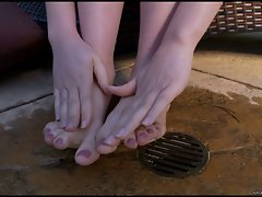 Charming filthy Kagney Karter plays with her lewd toes