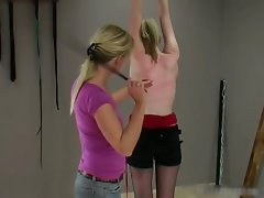 Poor chick gets whipped by kinky blond part3