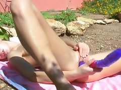 Graceful slutty russian cutie dildoing her hole