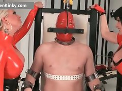 Two chesty big boobed latex sensual cougar part3