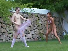 french cuties watersports in the garden