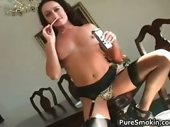 Sensual dark haired Michelle smokes cigarette part4