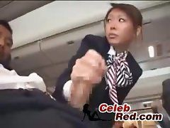 Seductive japanese Stewardess Handjob jap