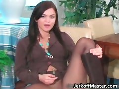 Sensual face dark haired secretary stripping part4