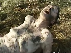 Sensual attractive mature mature whore covered with mud part2