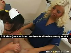 Two lewd nurses receive care of a patient