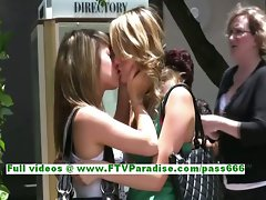 Rilee and Sara sensual butch teenages flashing knockers in a public place