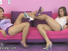 Filthy dark haired cute chicks get randy rubbing part3