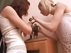 Two slutty russian coeds playing with twats