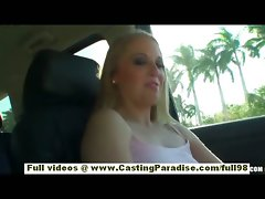 Olivia lovely blond sizzling teen flashing and toying in a car