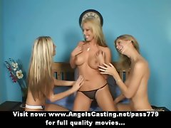 Three tempting luscious light-haired lesbos talking and undressing