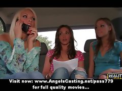 Three tempting charming lesbo lasses talking and touching in car